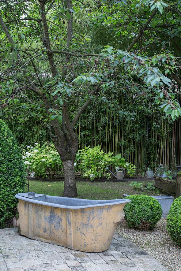 jardin avec arbre et baignoire dans une maison de campagne à la décoration style gustavien