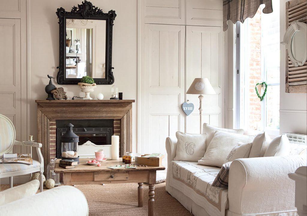 Salon avec canapé blanc maison classique chic