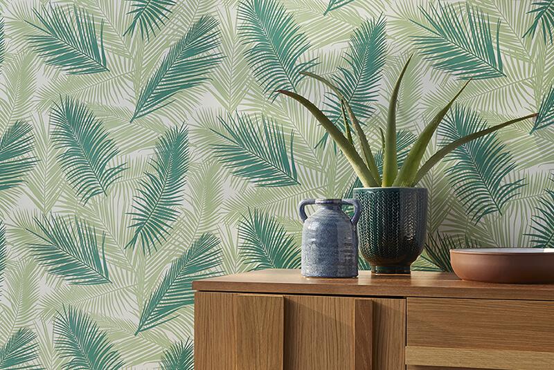 Papier peint intissé « Tropical vert » pour une tendance déco 2019.