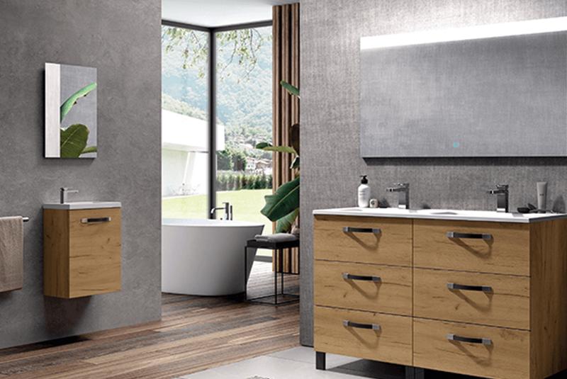 Gamme « Bosko » modulable et personnalisable : meuble sous vasque avec tiroirs, 60 à 140 x 27,5 x 46 cm, à partir de 295 €, Aquarine. Parfait pour décorer sa salle de bain.