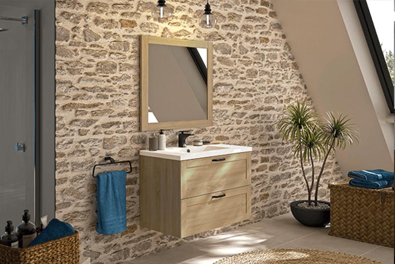 Gamme « Cambridge » : meuble sous plan à suspendre, 2 ou 4 tiroirs, fermeture progressive, 80 ou 120 x 58 x 46 cm ; miroir cadre bois assorti 80 ou 120 cm, à partir de 301 €, Allibert. L'accessoire parfait pour décorer sa salle de bain.