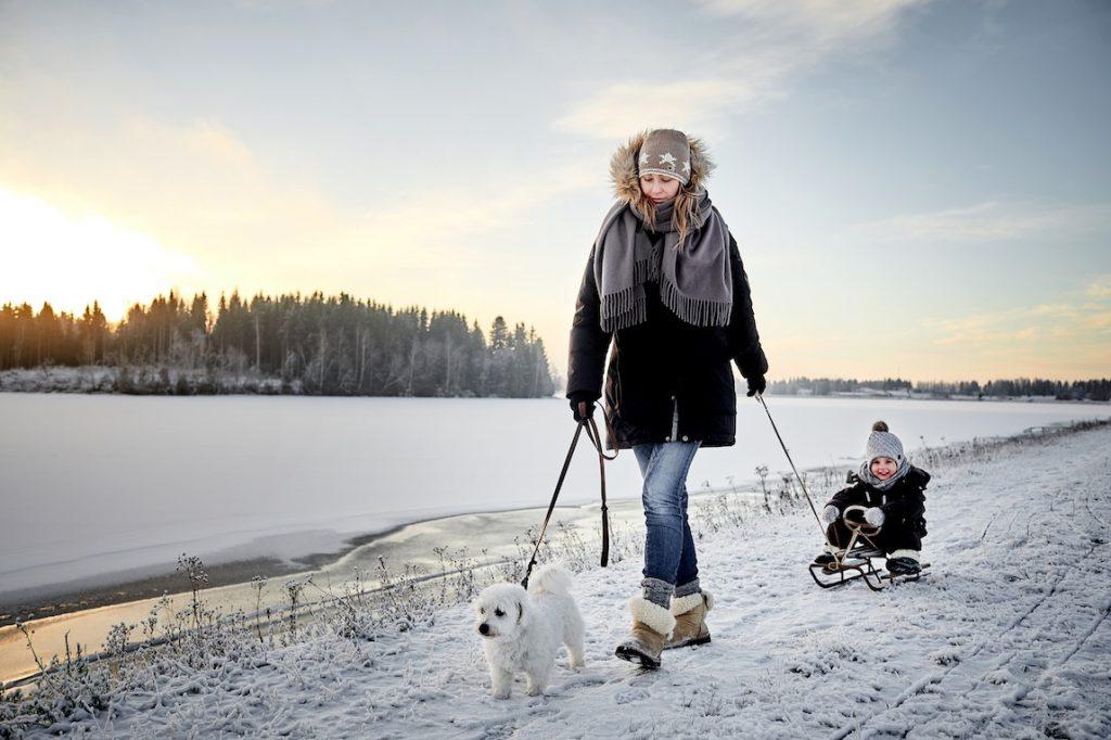 Jeune femme avec un chien et son enfant sur la neige
