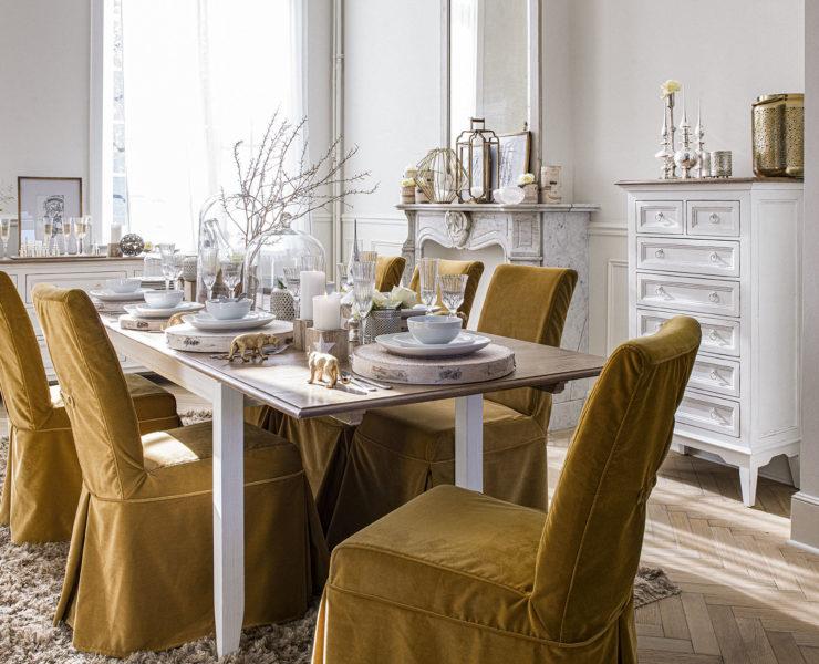 Déco de table de Noël blanc et or