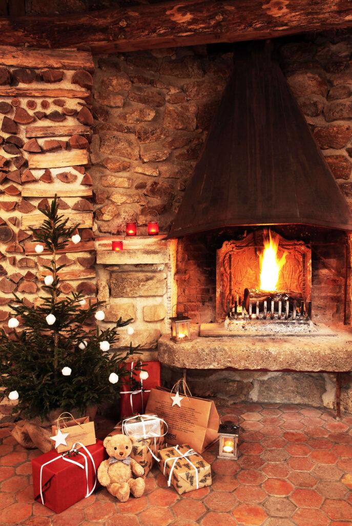 sapin cabane de Noël en bois