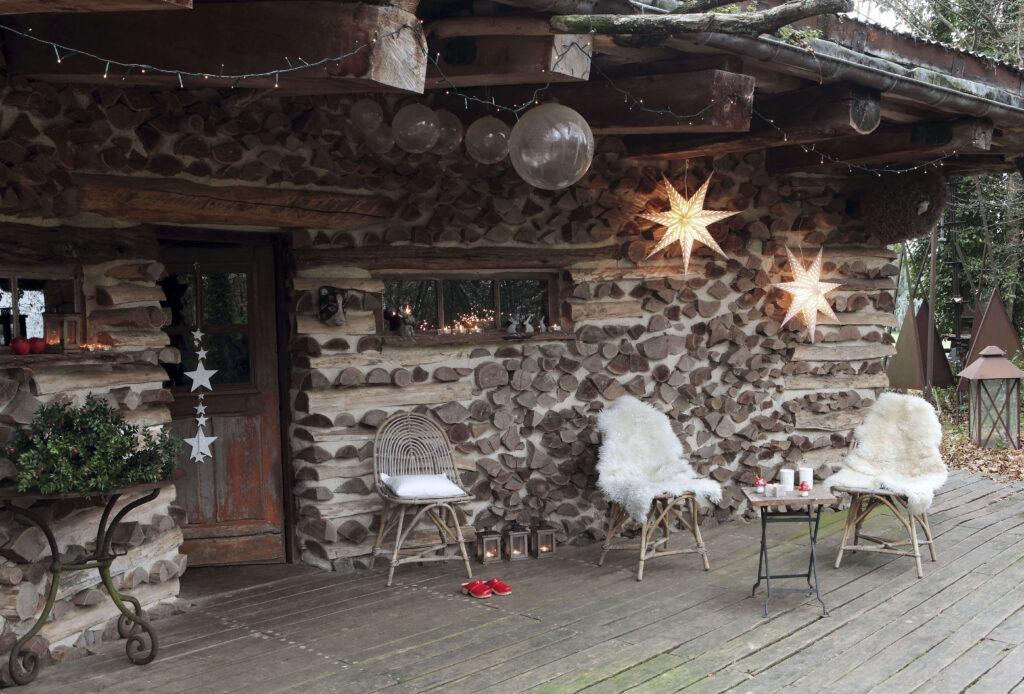 extérieur cabane de Noël en bois