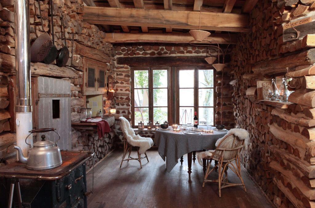 salle à manger cabane de Noël en bois