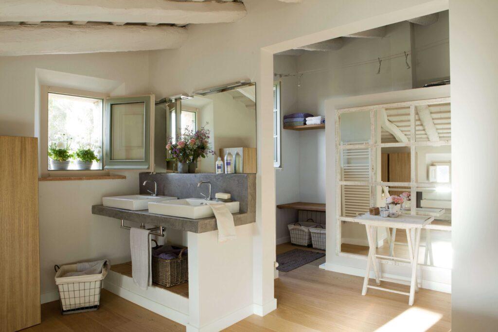 salle de bain à la decoration de campagne