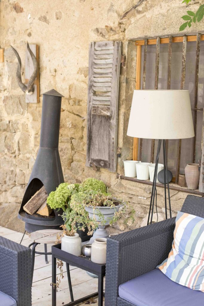 lampe jardin maison rustique
